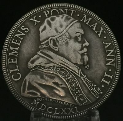 Pope Clement X Medal Papal States Vatican 1670 1676 Silver Italy 43mm
