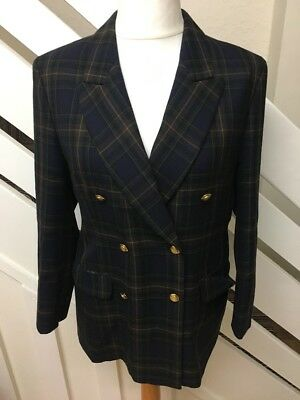 M&S St Michael Vintage Tartan Wool Military Jacket Blazer Size 14 Petite Fit