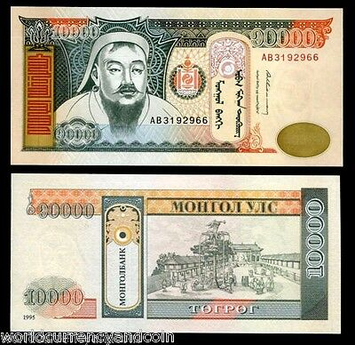 Mongolia 10000 Tugrik P61 1995 Genghis Khan Unc Rare Date Currency Money Note
