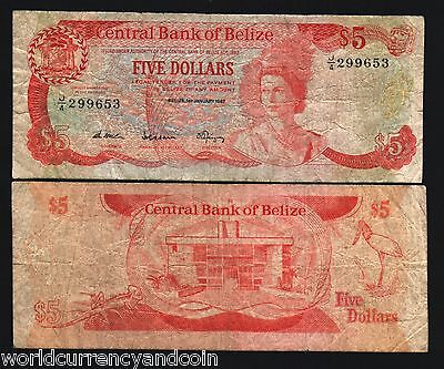 Belize 5 Dollars P47A 1987 Queen Bird Lizard Rare Gb Uk Caribbean Money Banknote