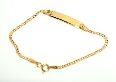 10c00fc45911e 14K YELLOW GOLD Cuban Link Id Baby Bracelet With 1