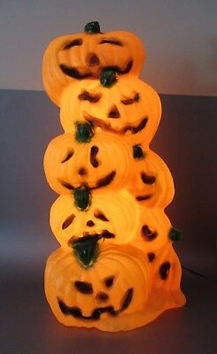 "Vintage STACK OF PUMPKINS 31"" I.P.L. BLOW MOLD HALLOWEEN YARD DECOR Canada light"