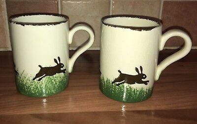 2 X Hare Hand Painted Mugs By Price Kensington Potteries Pottery