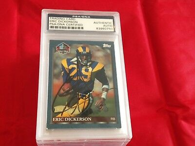 Eric Dickerson Rams Autographed 1999 Topps Hof Football Card Psa/dna Slabbed