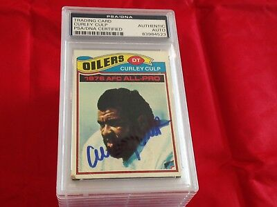 Curley Culp Oilers Autographed 1977 Topps Football Card Psa/dna Slabbed