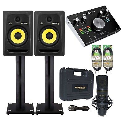 """KRK RP6G3 6"""" Active Monitors (Pair) + M‐Track 2x2 Recording Interface Package"""