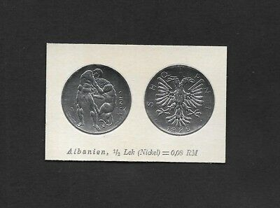 Albania Coin Card by Greiling Germany 1929 - 1926 1/2 Lek THIS IS NOT A COIN