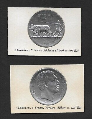 Albania Coin Card by Greiling Germany 1929 - 1926 5 FR Silver THIS IS NOT A COIN