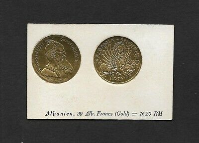 Albania Coin Card by Greiling Germany 1929 - 1927 20 FR THIS IS NOT A COIN
