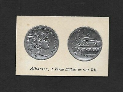 Albania Coin Card by Greiling Germany 1929 - QV 1927 1 FR THIS IS NOT A COIN