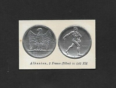Albania Coin Card by Greiling Germany 1929 - QV 1926 2 FR THIS IS NOT A COIN