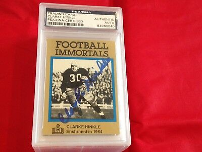 Clarke Hinkle Packers Autographed Football Immortals Card Psa/dna Slabbed