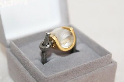 ANNE MARIE CHAGNON Brutalist Statement Pewter Ring sz 6.5