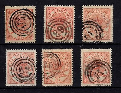1864 Denmark 4sk carmine 6 stamps with different cancels and shades High value