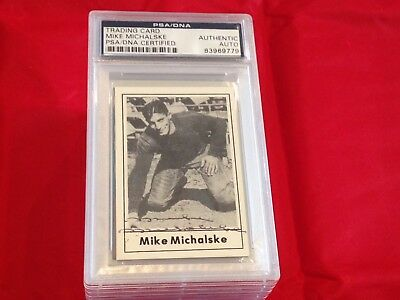 Mike Michalske Packers Hof Autographed 1977 Touchdown Club Card Psa/dna Slabbed