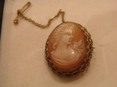Vintage Cameo Brooch with Safety Chain