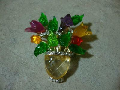 Vintage JC Joseph Cleary Lucite & Rhinestone Flower Basket Brooch Pin