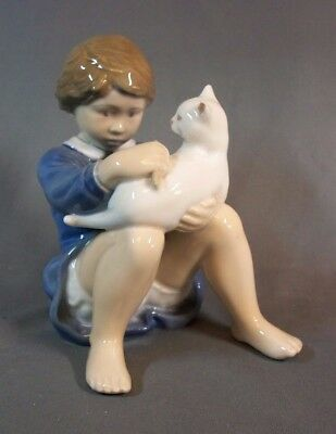 "Royal Copenhagen Boy With His Cat Figure #4631 5 3/4"" Tall"