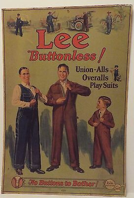 Lee Union-Alls,1920's lithograph Advertising Poster, Vintage Denim, work clothes