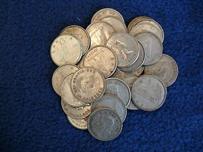 Lot of 30 Canadian Dimes. Various dates all pre 1967 - 80% silver coins
