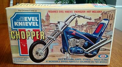Vintage 1975 Ideal Evel Knievel Stunt Cycle Chopper Factory Sealed Box