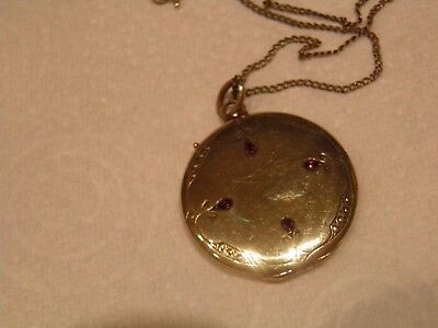 Rolled Gold Garnet vintage Flat Locket on Rolled Gold Chain