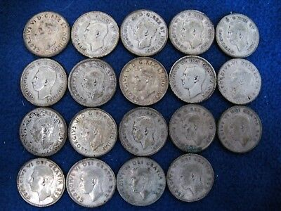 Lot of 19 Canadian 25 Cents George VI - Complete Date Set +  - 80% Silver coins