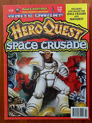 White Dwarf HeroQuest Space Crusade. Games Workshop Mag 134 Feb 1991 vgc