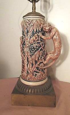 large antique quality German porcelain monkey beer stein electric table lamp