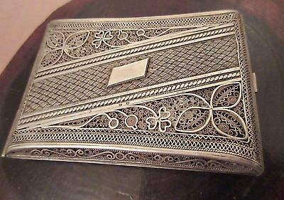large antique heavy sterling silver filigree ornate cigarette smoking case box