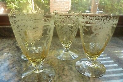 Fostoria June Set Of 4 Topaz Footed Juice Tumblers
