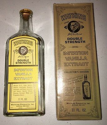 Vintage Watkins Double Strength Imitation Vanilla Extract Bottle With Box
