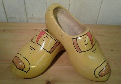 Pair of large vintage Dutch hand painted wooden clogs
