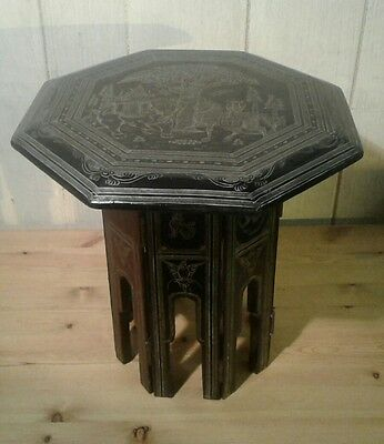 Antique/vintage Black laquered oriental folding table with Buddhist decoration