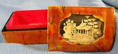 "Trinket Jewelry Box Chinese Cork Carving Temple Trees Landscape 3.5""x1.75""x2.5"""