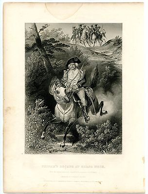 PUTNAM'S ESCAPE AT HORSE NECK, Revolutionary War/Israel Putnam, Engraving 1857