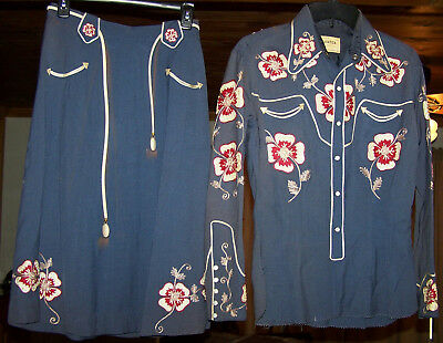 Vintage Frontex Western Outfit Ladies Clothing Women Dallas, TX Embroidery