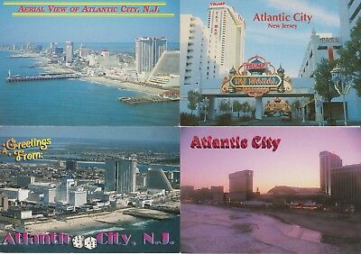 4 Atlantic City Post Cards, Taj Mahal Trump, New