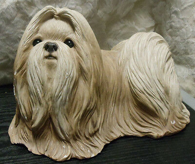 "Sandicast Shih Tzu Gold White Dog Large Figurine Sculpture 6"" Hx8.25""Lx5"" W RARE"