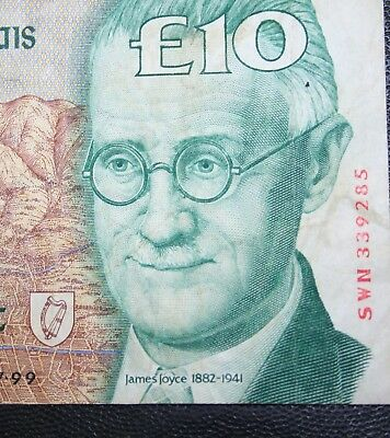 Ireland -1999 Irish J Joyce £10 banknote GOOD FINE Currency Ten Pound Note P76