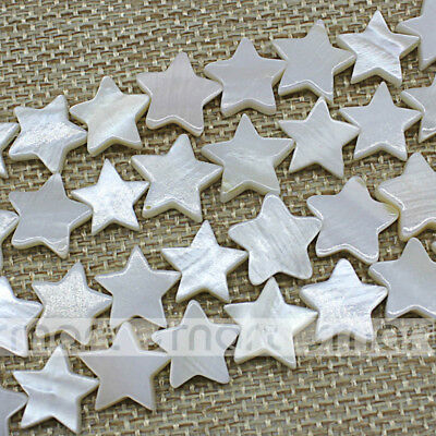 """White Natural Shell Star Shape Loose Beads 15.5"""" Inches Strand 10mm"""
