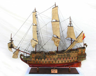 "San Felipe Spanish Armada Galleon Tall Ship 56"" Built XL Wooden Model Assembled"