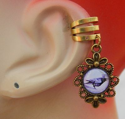 Raven Charm Drop/Dangle Ear Cuff Handmade Jewelry Gold Accessories New