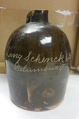 VINTAGE Lang Scheck & Company Columbus Ohio Brown Whiskey Jug Bottle Pottery