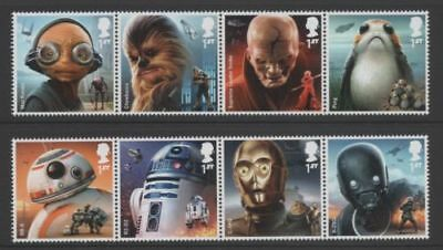Brand New GB 2017 Star Wars unmounted Mint Set Of Eight 1st Class Stamps