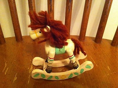 vintage wooden miniature rocking horse Hand painted Brown Yarn Christmas Toy old
