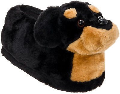 Silver Lilly Rottweiler Plush Dog Novelty House Slippers w/ Platform