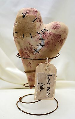 "USA-Made Rustic Soft Sculpture w'/ Well-Used Heart and Saying ""Love Never Fails"""