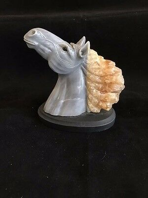 First Rate Rare Horsehead Carving,italian Marble With Natural Calcite Mane