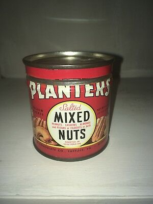 Vintage 1944 Planters Mr. Peanut Salted Mixed Nuts Tin 4 Ounce Size